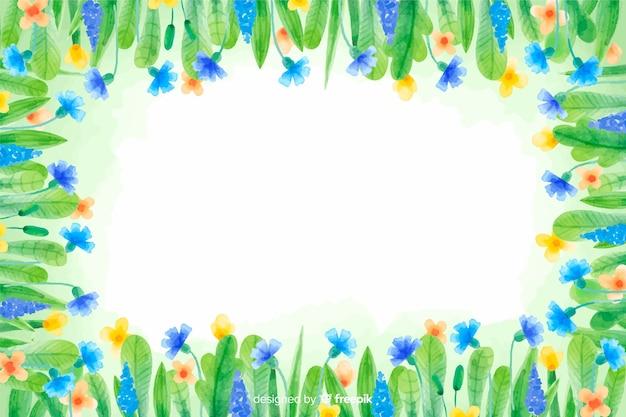 Aquarelle fond floral de fleurs jaunes et bleues Vecteur gratuit