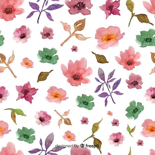 Aquarelle Fond Floral Sur Fond Blanc Vecteur gratuit