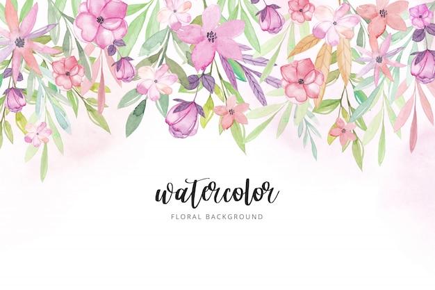 Aquarelle fond floral. Vecteur Premium