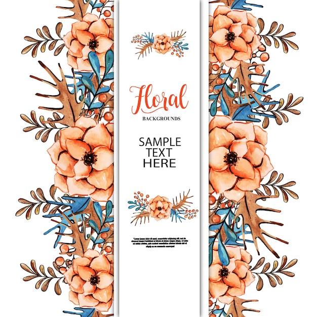 Aquarelle fond floral Vecteur Premium