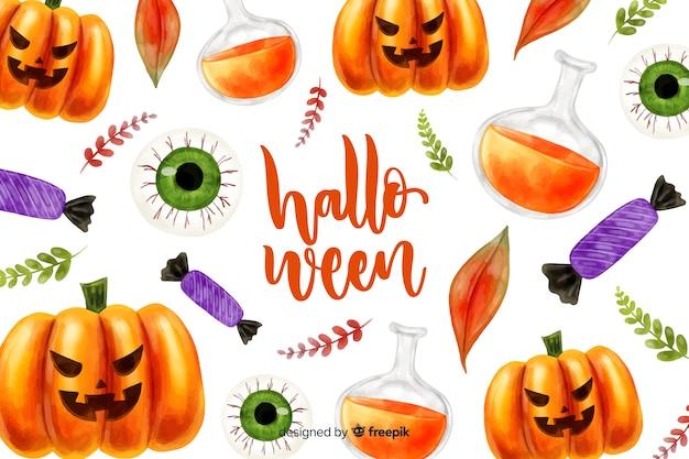 Aquarelle fond d'halloween Vecteur gratuit