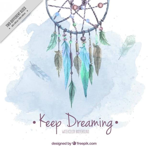 Aquarelle fond mignon avec capteur de rêves Vecteur gratuit