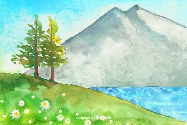 Aquarelle Fond Naturel Avec Paysage Vecteur gratuit
