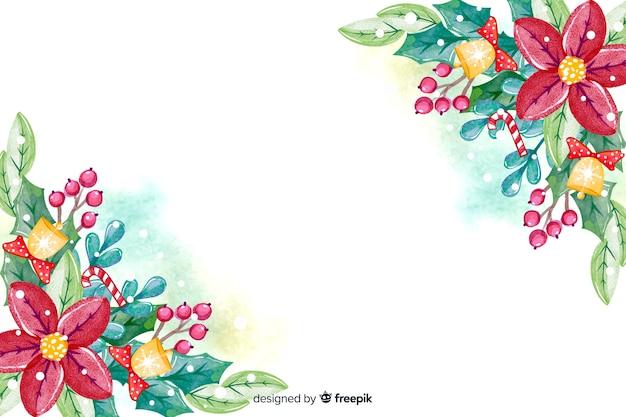 Aquarelle fond de noël avec des fleurs Vecteur gratuit