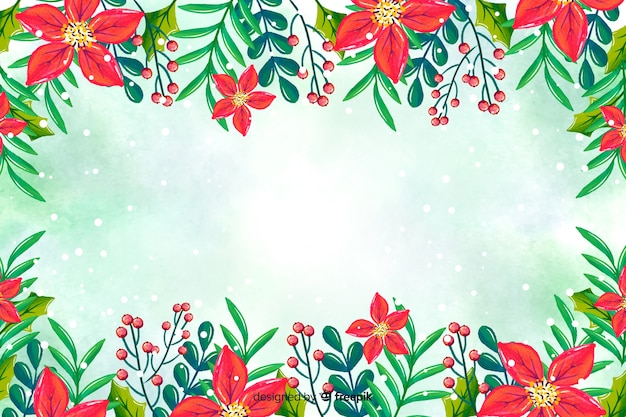 Aquarelle Fond De Noël Vecteur gratuit