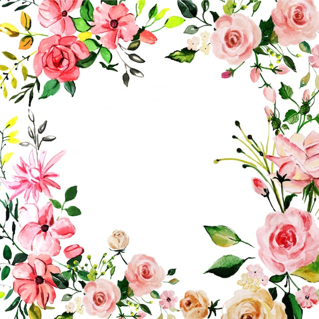Aquarelle fond rose rose floral Vecteur Premium
