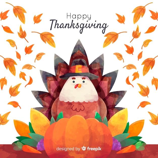 Aquarelle fond de table de thanksgiving Vecteur gratuit