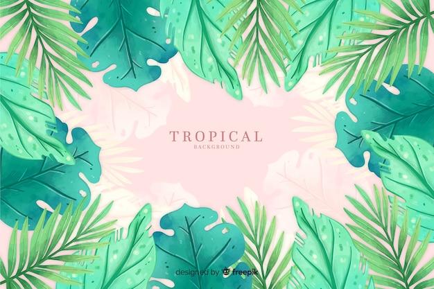 Aquarelle fond tropical Vecteur gratuit