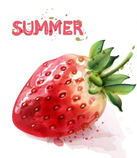 Aquarelle fraise isolé Vecteur Premium