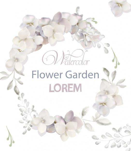 Aquarelle de guirlande de fleurs blanches Vecteur Premium