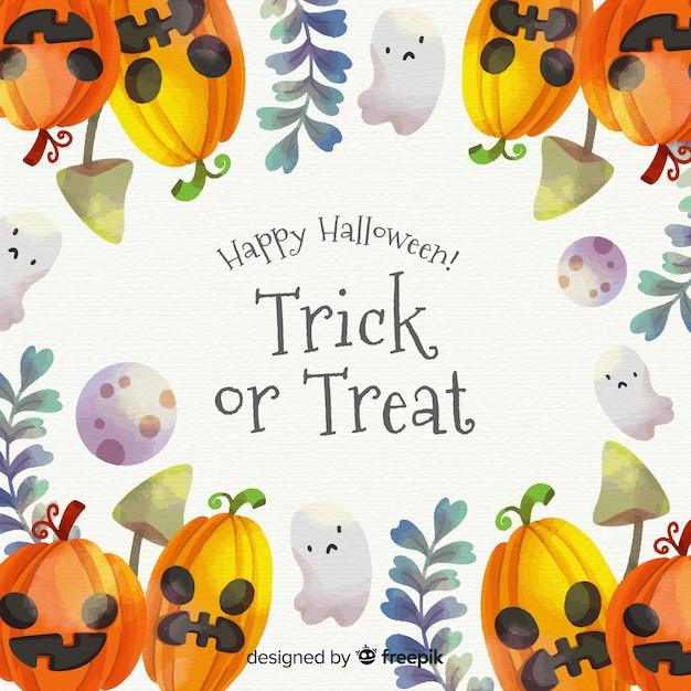 Aquarelle Halloween Cadre Vecteur gratuit