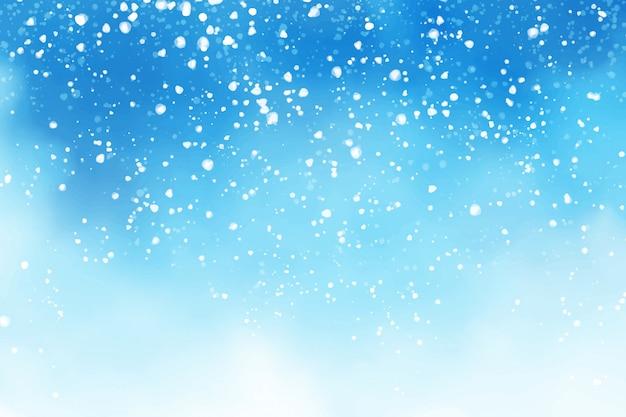 Aquarelle Hiver Bleu Ciel Avec Illustration De Peinture Numérique Fond Flocons De Neige Qui Tombe Vecteur Premium