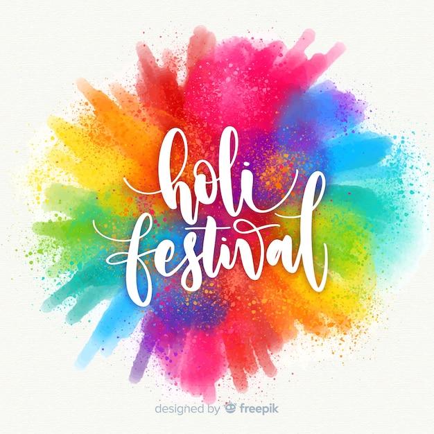 Aquarelle Holi Festival Fond Vecteur Premium