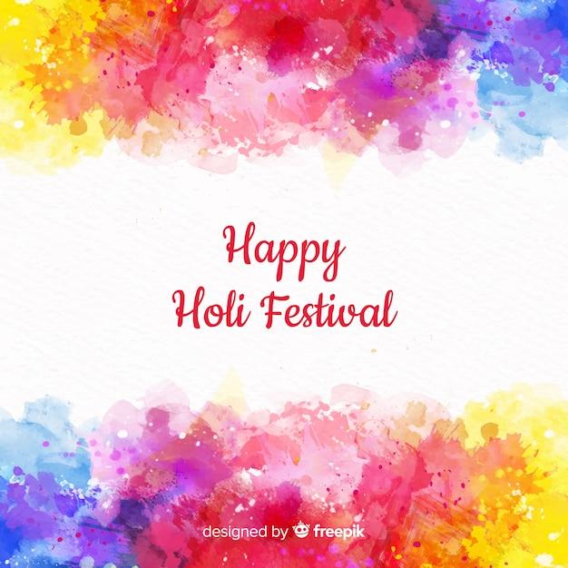 Aquarelle Holi Festival Fond Vecteur gratuit