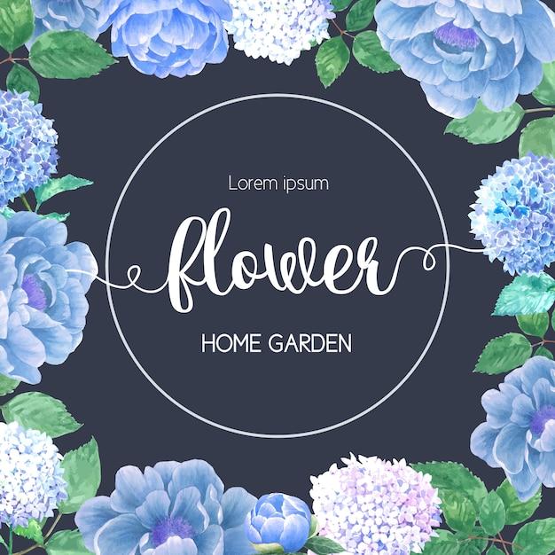 Aquarelle hydrenyia fleurs carte Vecteur gratuit