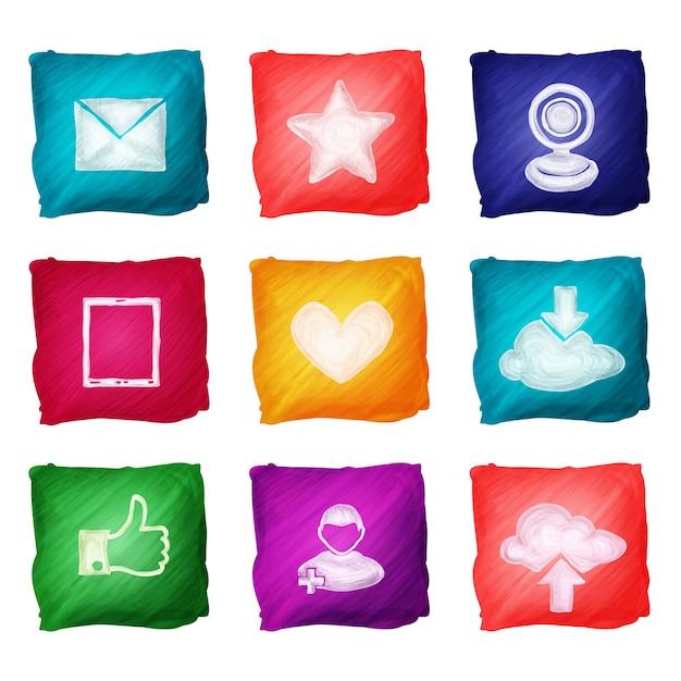 Aquarelle d'icônes de médias sociaux Vecteur gratuit