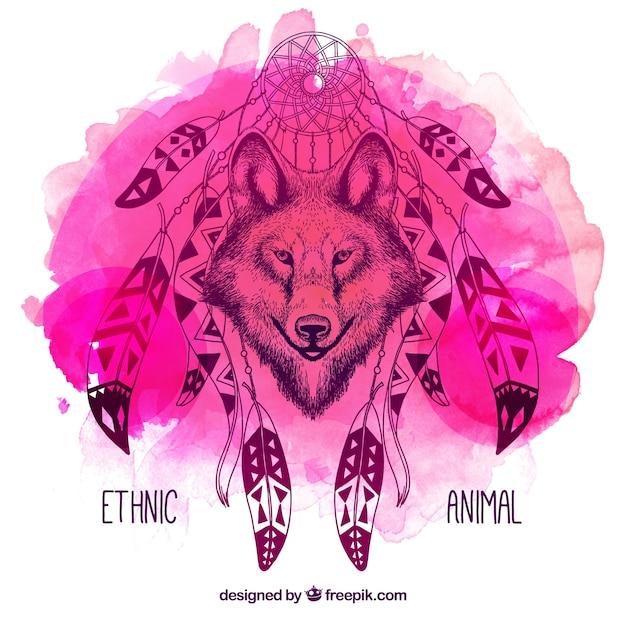 Aquarelle illustration de loup dreamcatcher Vecteur gratuit