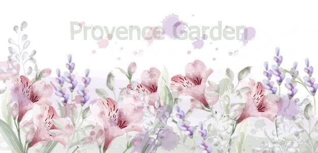 Aquarelle jardin de fleurs de provence Vecteur Premium