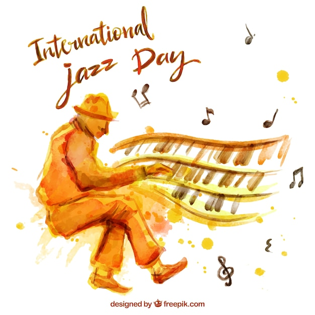 Aquarelle jazz fond avec le pianiste Vecteur gratuit