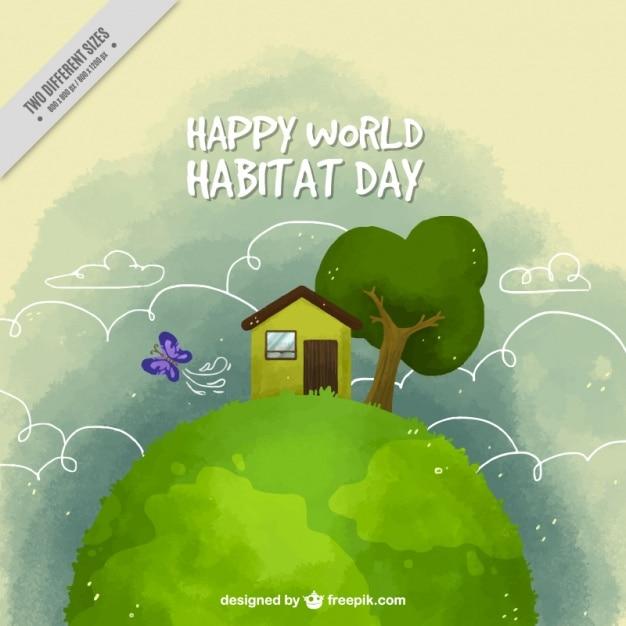 Aquarelle joli fond de la maison et de la végétation pour la journée mondiale de l'habitat Vecteur gratuit