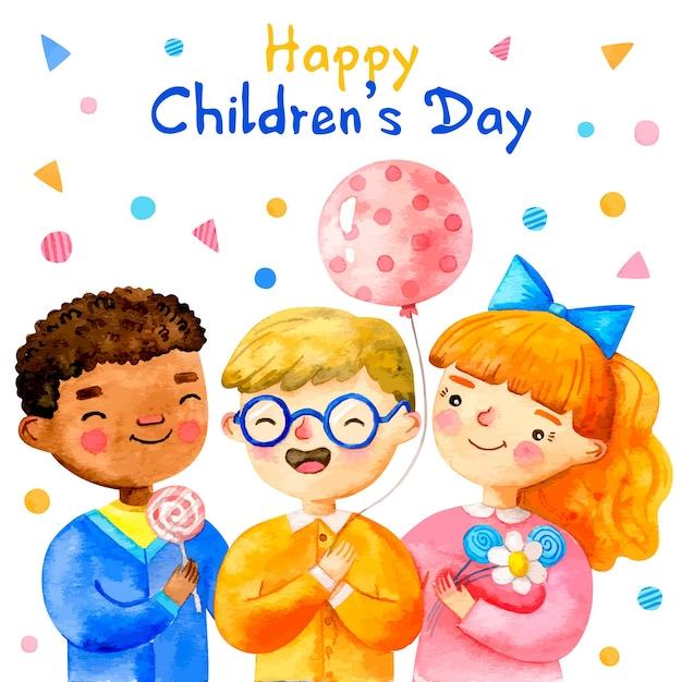 Aquarelle Journée Des Enfants Avec Des Confettis Vecteur gratuit