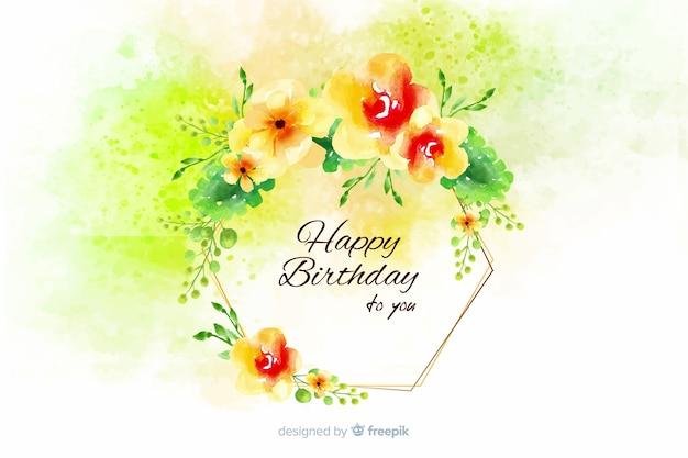 Aquarelle joyeux anniversaire fond avec des fleurs Vecteur gratuit