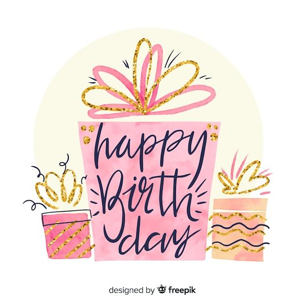 Aquarelle joyeux anniversaire lettrage de fond Vecteur gratuit