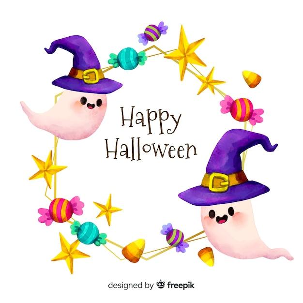 Aquarelle joyeux halloween cadre avec des fantômes Vecteur Premium