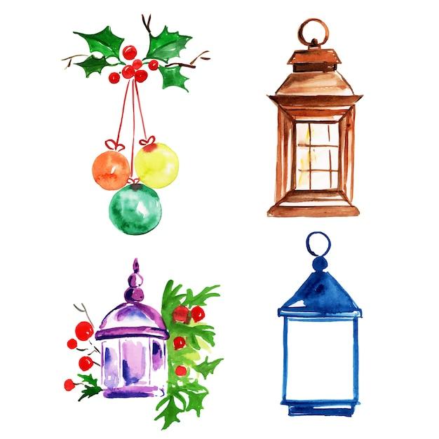 Aquarelle Joyeux Noël Collection D'éléments Vecteur Premium