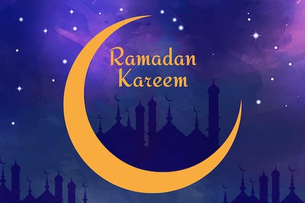 Aquarelle Joyeux Ramadan Kareem Dans La Nuit Vecteur gratuit
