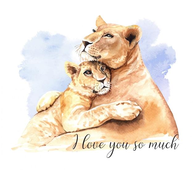 Aquarelle lion maman et fils. Vecteur Premium