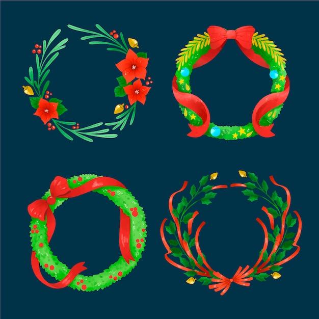 Aquarelle Lot De Fleurs Et Couronnes De Noël Vecteur gratuit