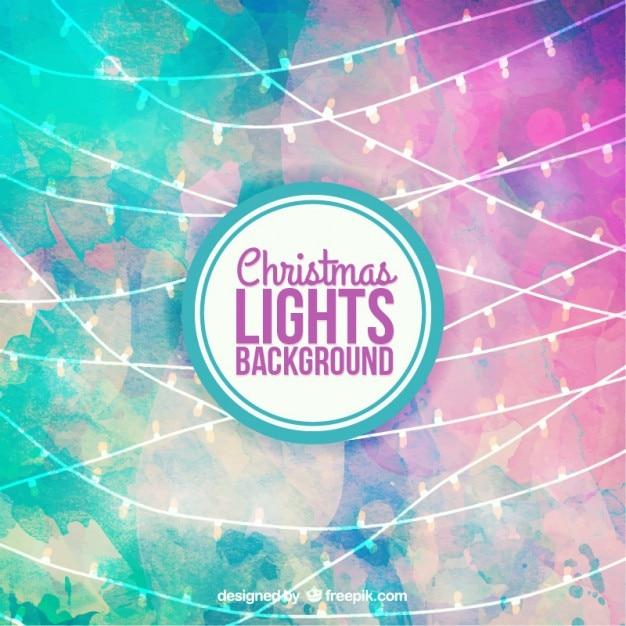 Aquarelle lumières de Noël fond Vecteur gratuit