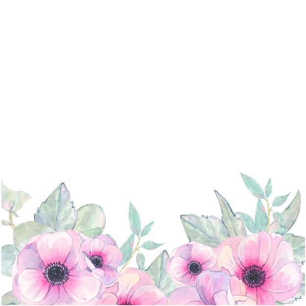 Aquarelle à la main peint carte d'invitation anémone rose fleur isolé sur blanc Vecteur gratuit