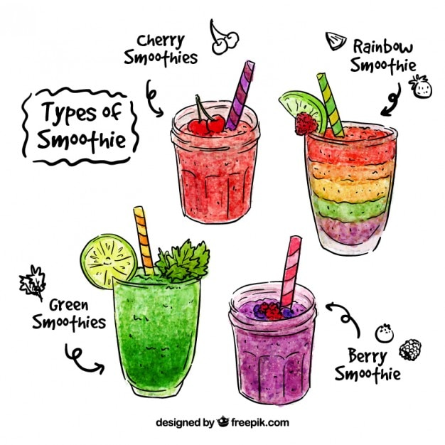 Aquarelle main smoothie aux fruits dessinée Vecteur gratuit