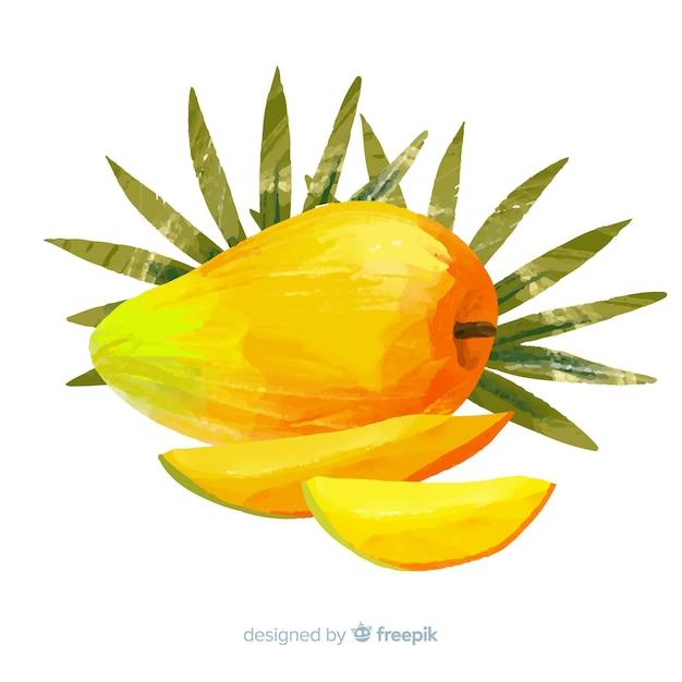 Aquarelle mangue et feuilles de fond Vecteur gratuit