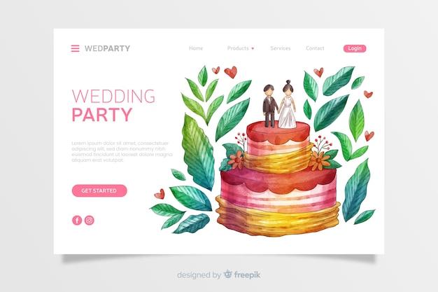 Aquarelle de mariage Vecteur gratuit