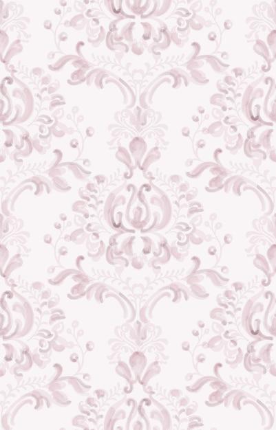 Aquarelle De Modèle D'ornement élégant Classique. Textures De Couleur Délicate Rose Vecteur Premium