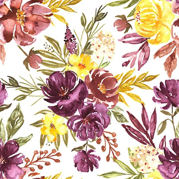 Aquarelle de modèle sans couture automne floral en vrac Vecteur Premium