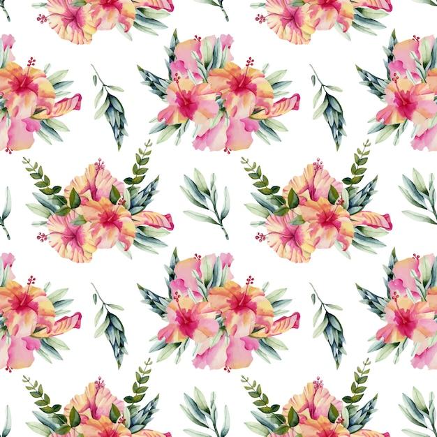 Aquarelle modèle sans couture de bouquets de fleurs d'hibiscus Vecteur Premium
