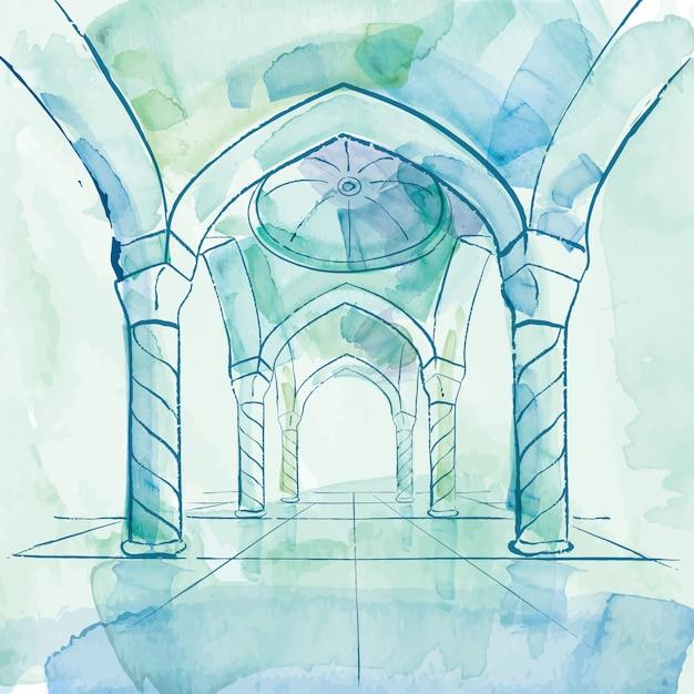 Aquarelle mosquée intérieur design islamique fond Vecteur Premium