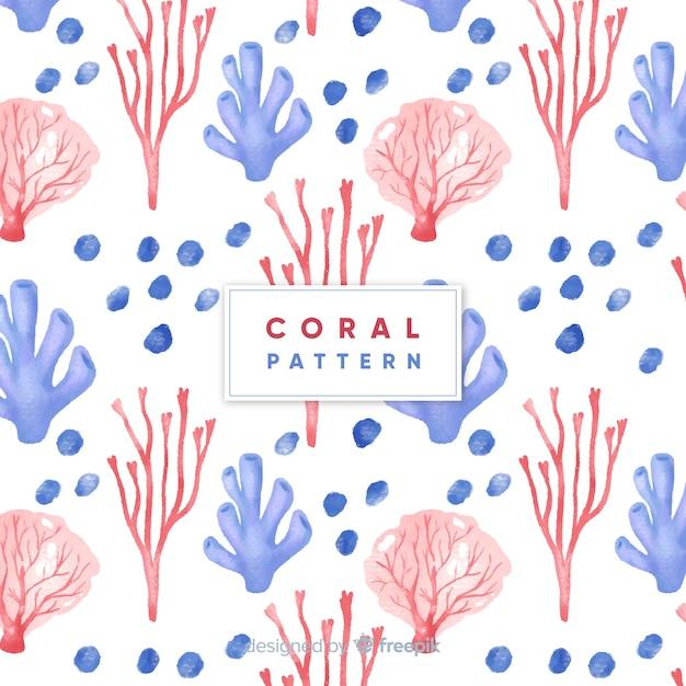 Aquarelle motif corail Vecteur gratuit