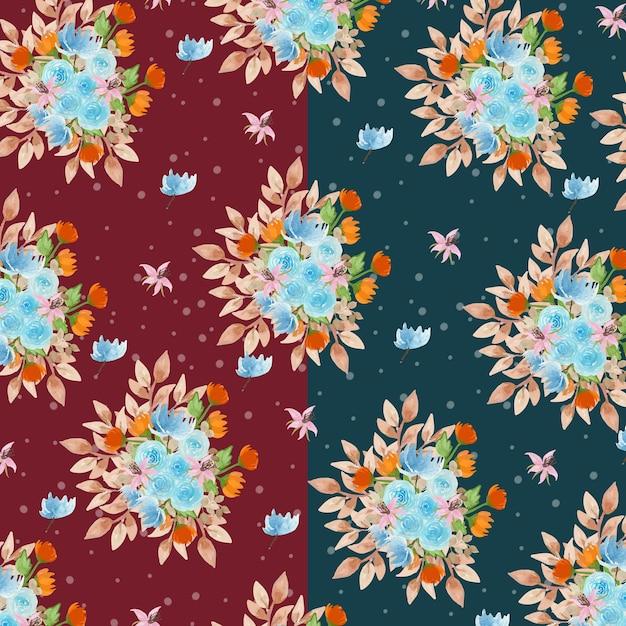 Aquarelle motif floral avec fond vert marine et marron Vecteur Premium