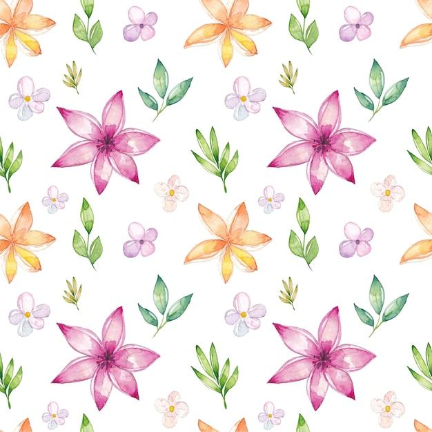 Aquarelle motif floral sans soudure Vecteur Premium