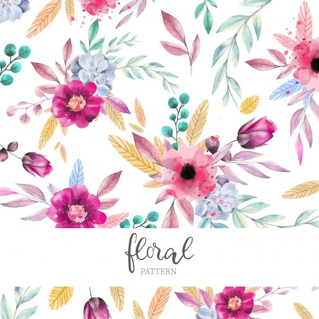 Aquarelle motif floral Vecteur gratuit