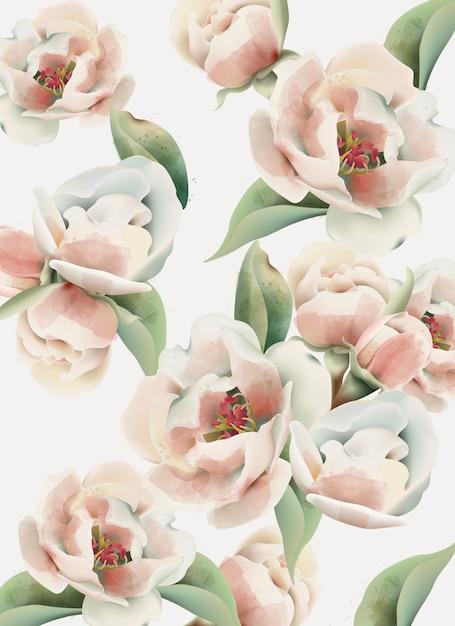 Aquarelle Motif Pivoine Rose Pâle Avec Des Feuilles Vertes Vecteur gratuit