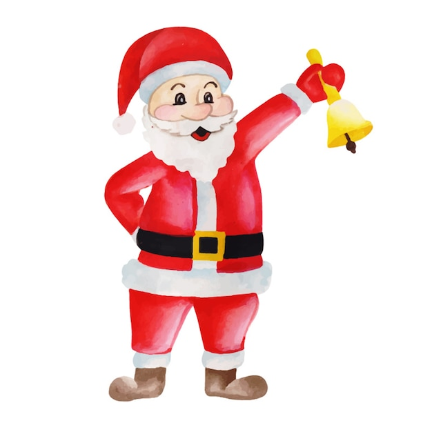 Aquarelle Noël Père Noël Vecteur gratuit