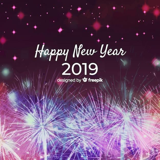 Aquarelle Nouvel An 2019 Fond Vecteur gratuit
