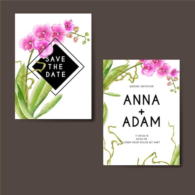 Aquarelle orchidée rose design Vecteur Premium