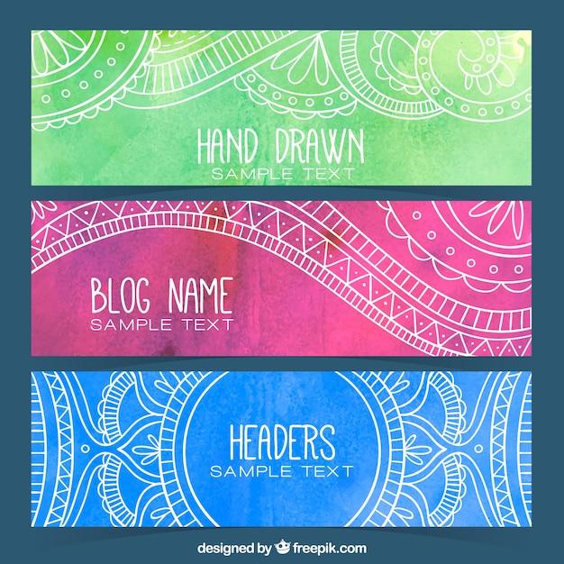 Aquarelle d'ornement têtes de blog Vecteur gratuit